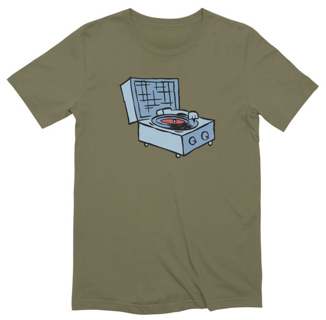 record player tee - blue